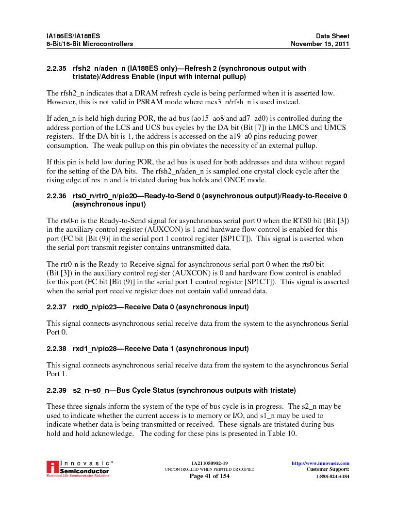 IA188ES-PTQ100I-R-03 ,Innovasic Semiconductor厂商,IC MCU 8/16BIT 40MHZ 100TQFP, IA188ES-PTQ100I-R-03 datasheet预览  第41页