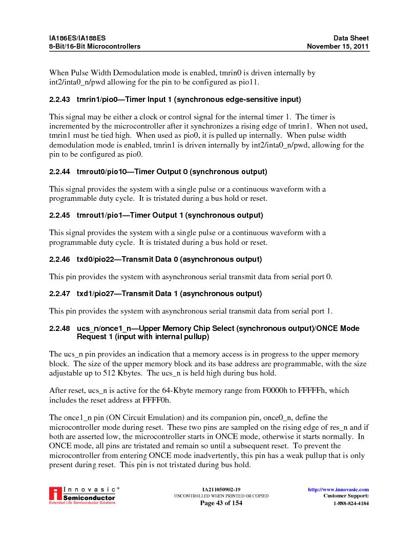 IA188ES-PTQ100I-R-03 ,Innovasic Semiconductor厂商,IC MCU 8/16BIT 40MHZ 100TQFP, IA188ES-PTQ100I-R-03 datasheet预览  第43页