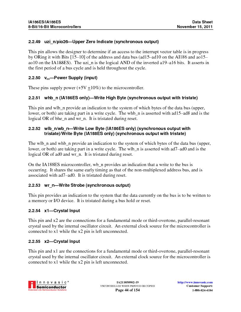 IA188ES-PTQ100I-R-03 ,Innovasic Semiconductor厂商,IC MCU 8/16BIT 40MHZ 100TQFP, IA188ES-PTQ100I-R-03 datasheet预览  第44页