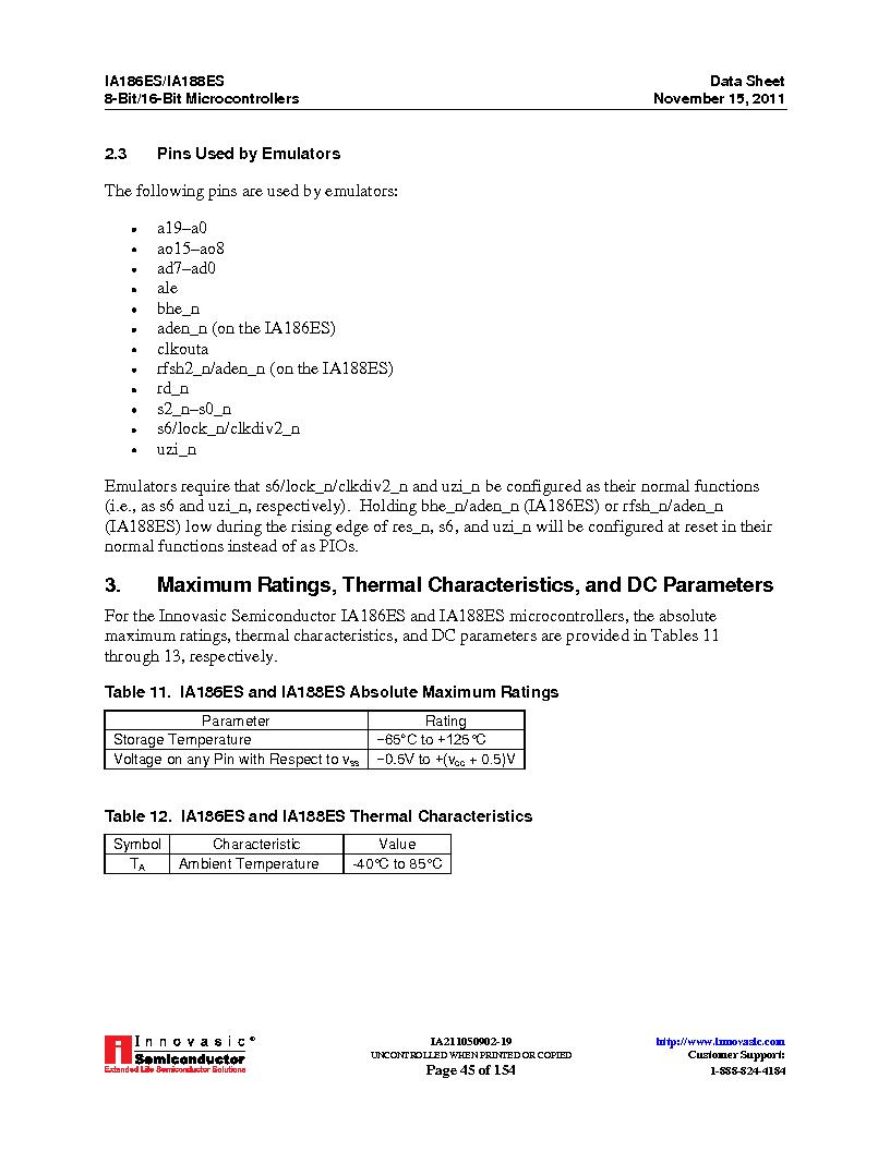 IA188ES-PTQ100I-R-03 ,Innovasic Semiconductor厂商,IC MCU 8/16BIT 40MHZ 100TQFP, IA188ES-PTQ100I-R-03 datasheet预览  第45页