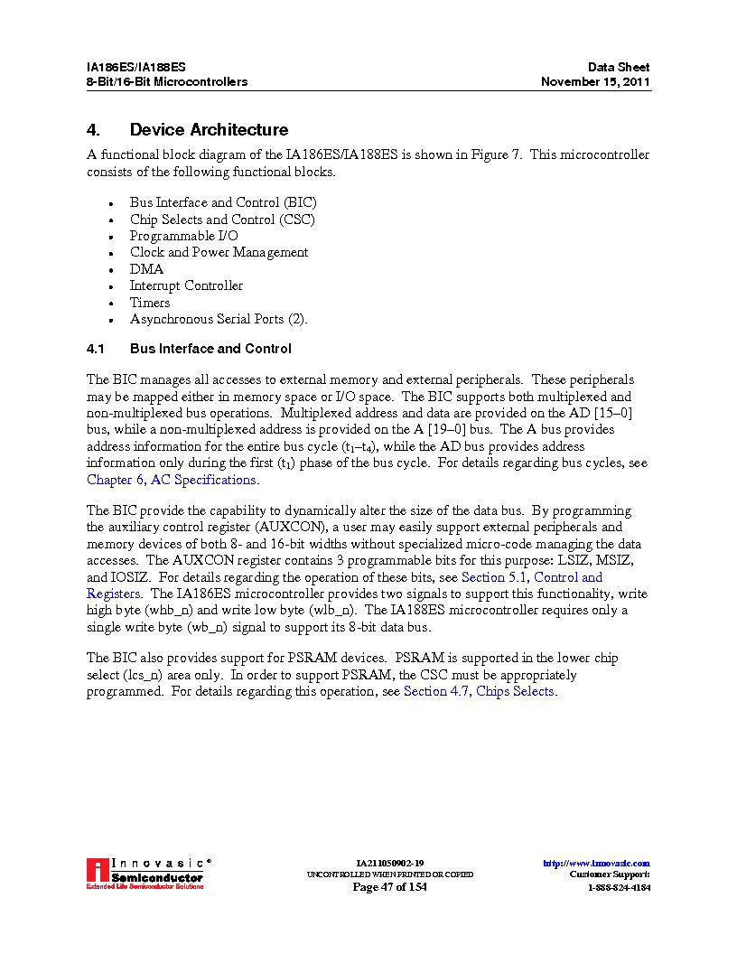 IA188ES-PTQ100I-R-03 ,Innovasic Semiconductor厂商,IC MCU 8/16BIT 40MHZ 100TQFP, IA188ES-PTQ100I-R-03 datasheet预览  第47页