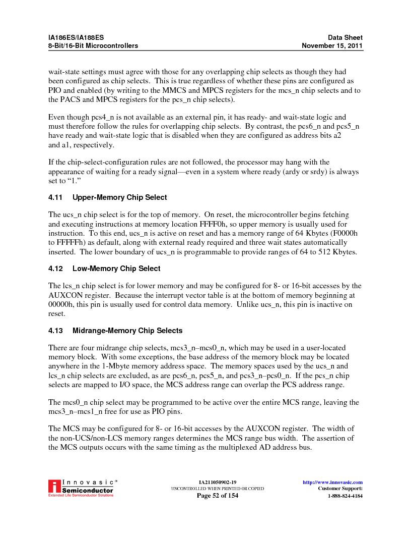 IA188ES-PTQ100I-R-03 ,Innovasic Semiconductor厂商,IC MCU 8/16BIT 40MHZ 100TQFP, IA188ES-PTQ100I-R-03 datasheet预览  第52页
