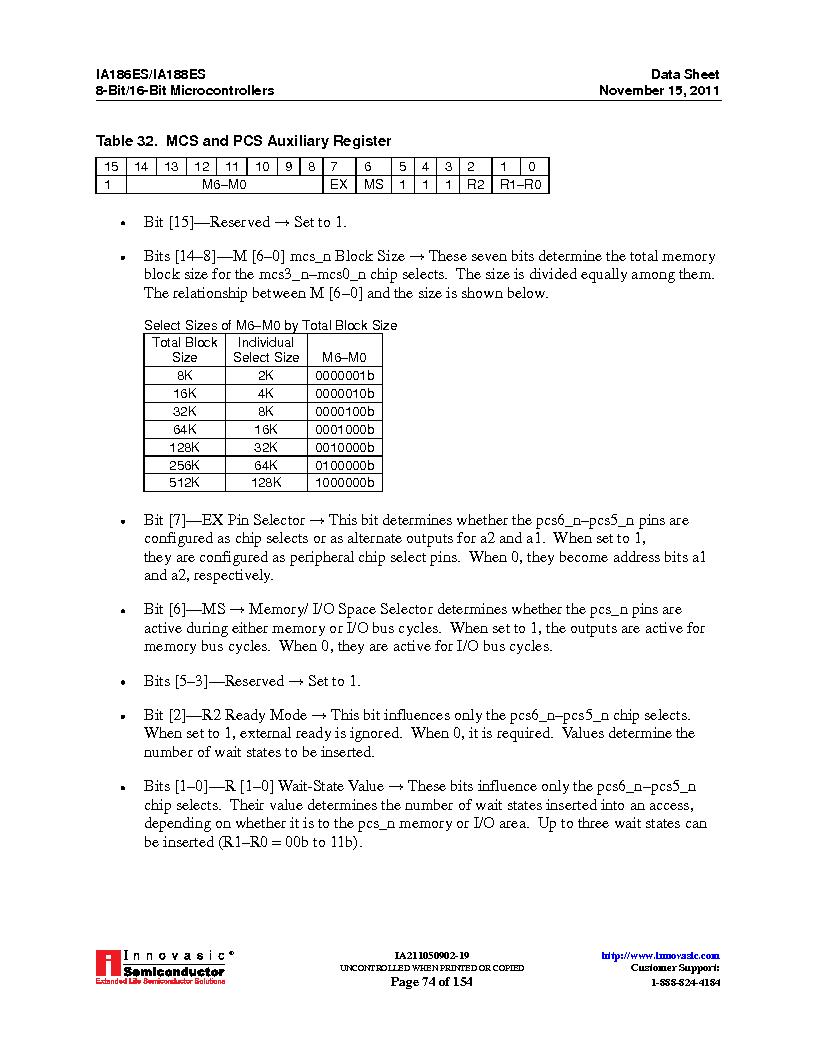 IA188ES-PTQ100I-R-03 ,Innovasic Semiconductor厂商,IC MCU 8/16BIT 40MHZ 100TQFP, IA188ES-PTQ100I-R-03 datasheet预览  第74页