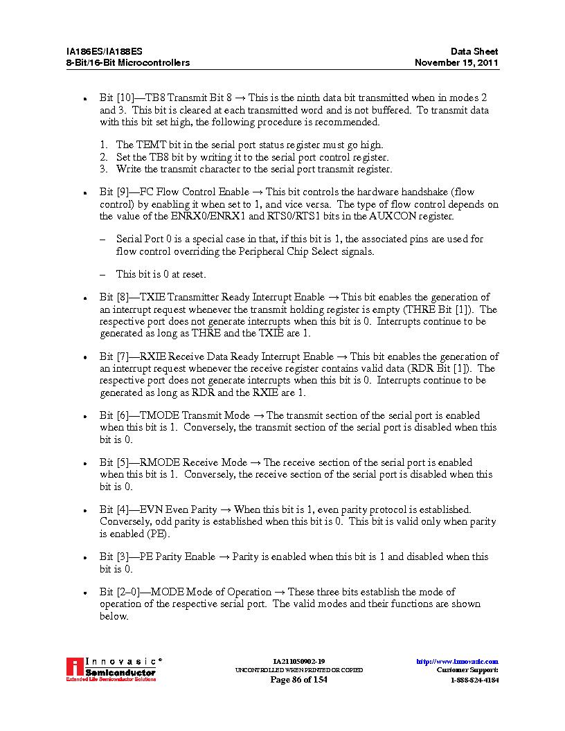 IA188ES-PTQ100I-R-03 ,Innovasic Semiconductor厂商,IC MCU 8/16BIT 40MHZ 100TQFP, IA188ES-PTQ100I-R-03 datasheet预览  第86页