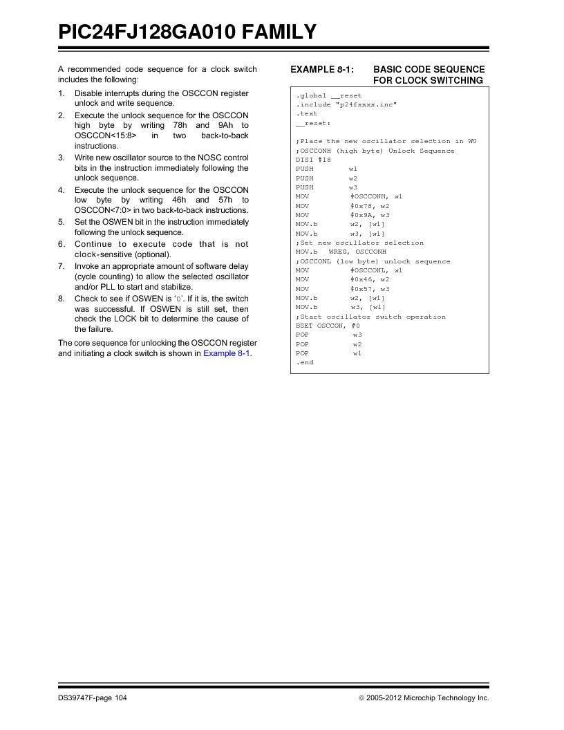 PIC24FJ96GA006-I/MR ,Microchip Technology厂商,IC MCU 16BIT 96KB FLASH 64VQFN, PIC24FJ96GA006-I/MR datasheet预览  第104页