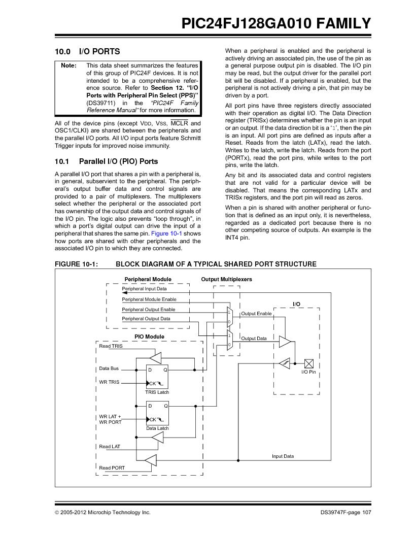 PIC24FJ96GA006-I/MR ,Microchip Technology厂商,IC MCU 16BIT 96KB FLASH 64VQFN, PIC24FJ96GA006-I/MR datasheet预览  第107页