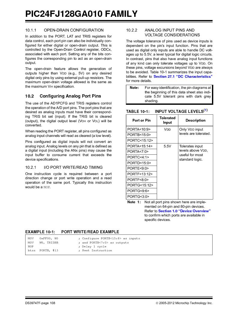 PIC24FJ96GA006-I/MR ,Microchip Technology厂商,IC MCU 16BIT 96KB FLASH 64VQFN, PIC24FJ96GA006-I/MR datasheet预览  第108页