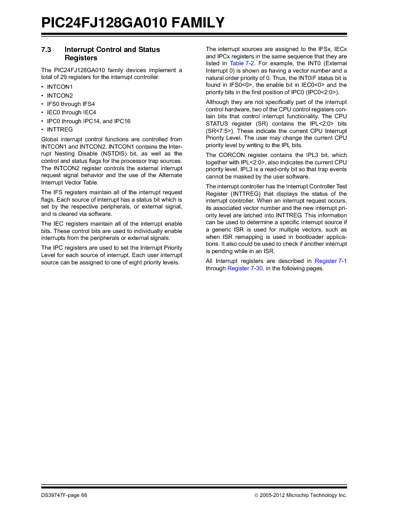 PIC24FJ96GA006-I/MR ,Microchip Technology厂商,IC MCU 16BIT 96KB FLASH 64VQFN, PIC24FJ96GA006-I/MR datasheet预览  第66页