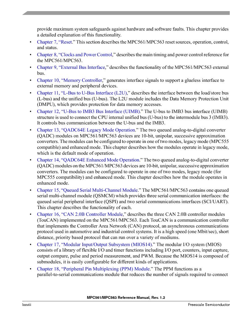 MPC563MZP56 ,Freescale Semiconductor厂商,IC MCU 512K FLASH 56MHZ 388-BGA, MPC563MZP56 datasheet预览  第78页
