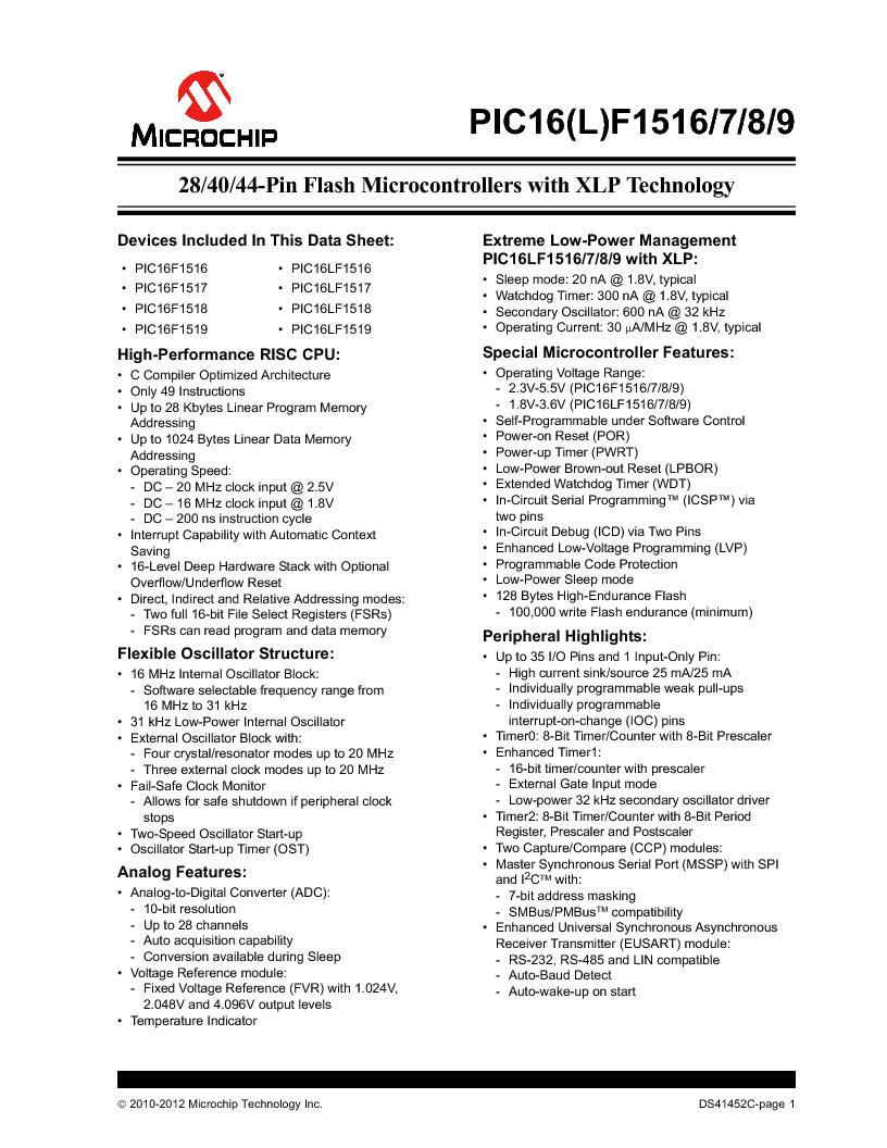 PIC16F1516-E/MV ,Microchip Technology厂商,MCU 14KB FLASH 512B RAM 28-UQFN, PIC16F1516-E/MV datasheet预览  第1页