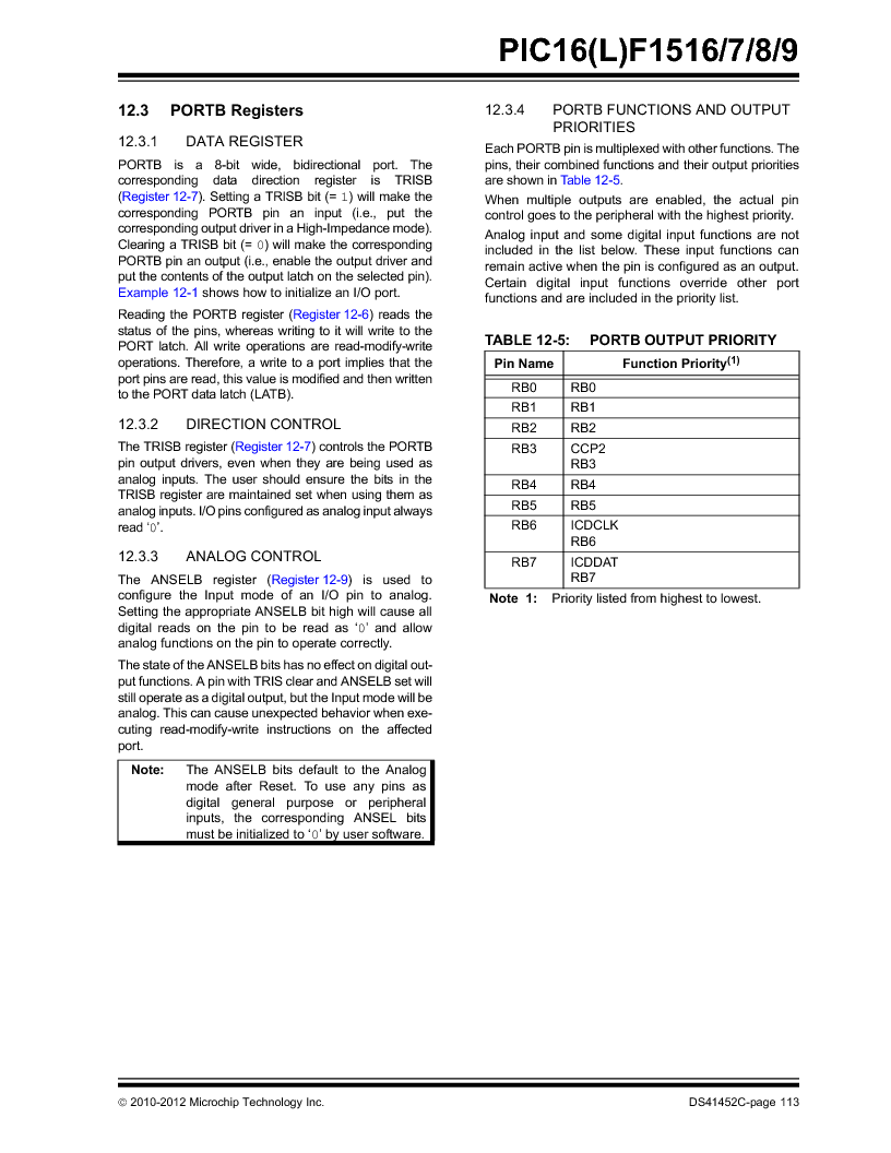 PIC16F1516-E/MV ,Microchip Technology厂商,MCU 14KB FLASH 512B RAM 28-UQFN, PIC16F1516-E/MV datasheet预览  第113页