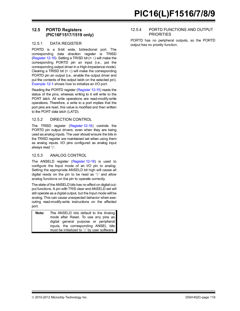 PIC16F1516-E/MV ,Microchip Technology厂商,MCU 14KB FLASH 512B RAM 28-UQFN, PIC16F1516-E/MV datasheet预览  第119页