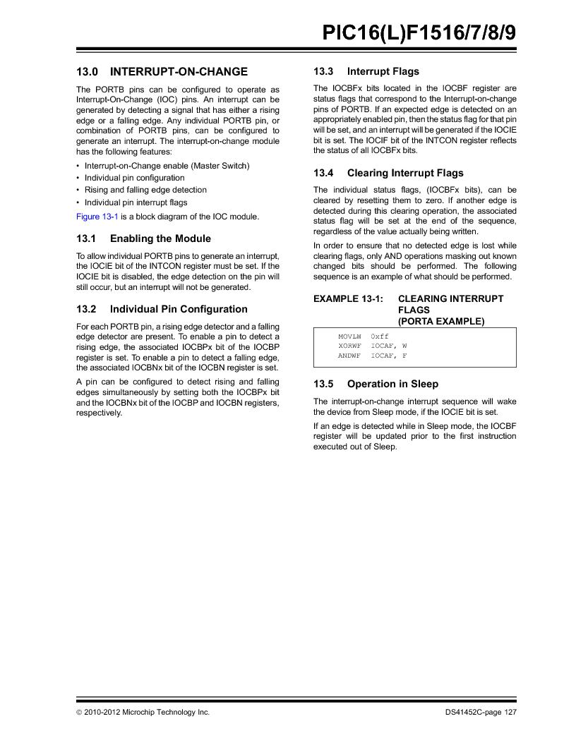 PIC16F1516-E/MV ,Microchip Technology厂商,MCU 14KB FLASH 512B RAM 28-UQFN, PIC16F1516-E/MV datasheet预览  第127页
