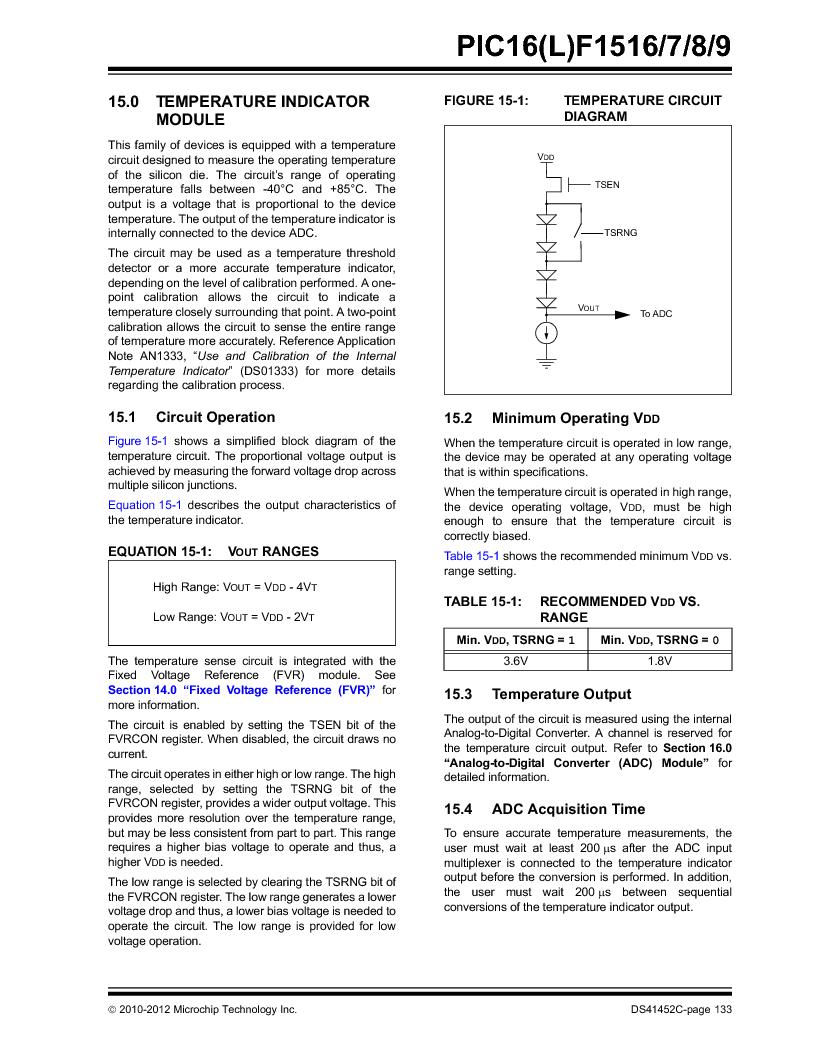PIC16F1516-E/MV ,Microchip Technology厂商,MCU 14KB FLASH 512B RAM 28-UQFN, PIC16F1516-E/MV datasheet预览  第133页
