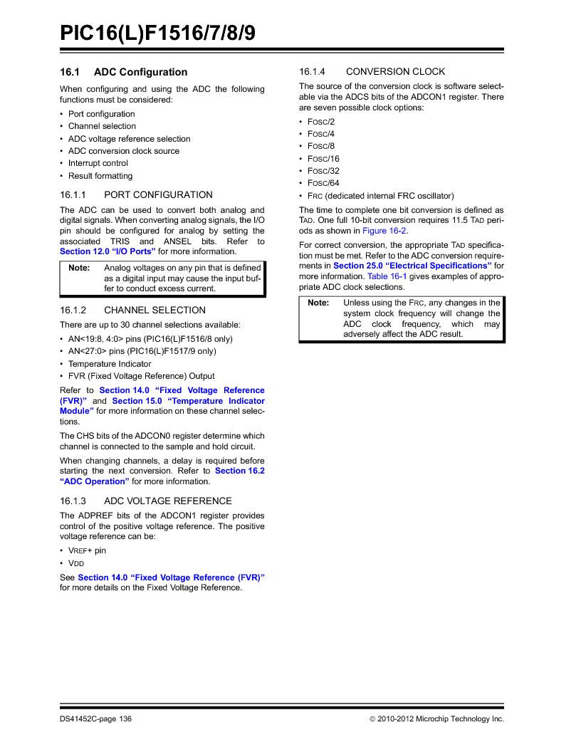 PIC16F1516-E/MV ,Microchip Technology厂商,MCU 14KB FLASH 512B RAM 28-UQFN, PIC16F1516-E/MV datasheet预览  第136页