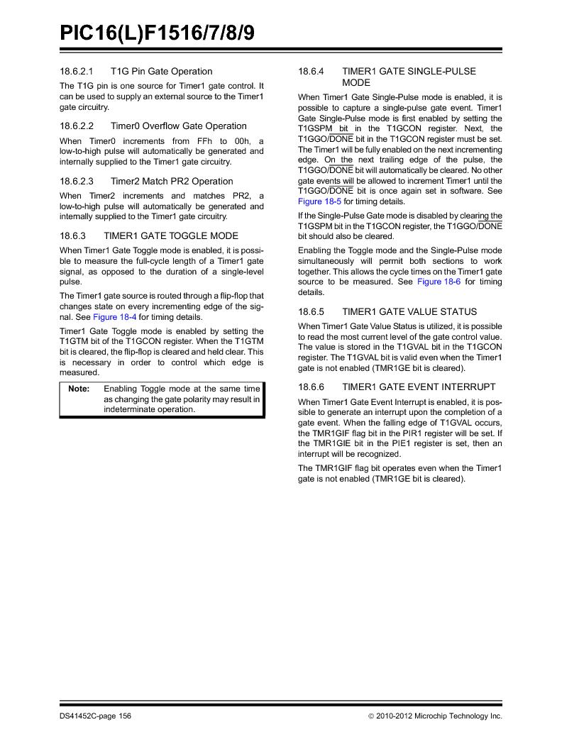 PIC16F1516-E/MV ,Microchip Technology厂商,MCU 14KB FLASH 512B RAM 28-UQFN, PIC16F1516-E/MV datasheet预览  第156页