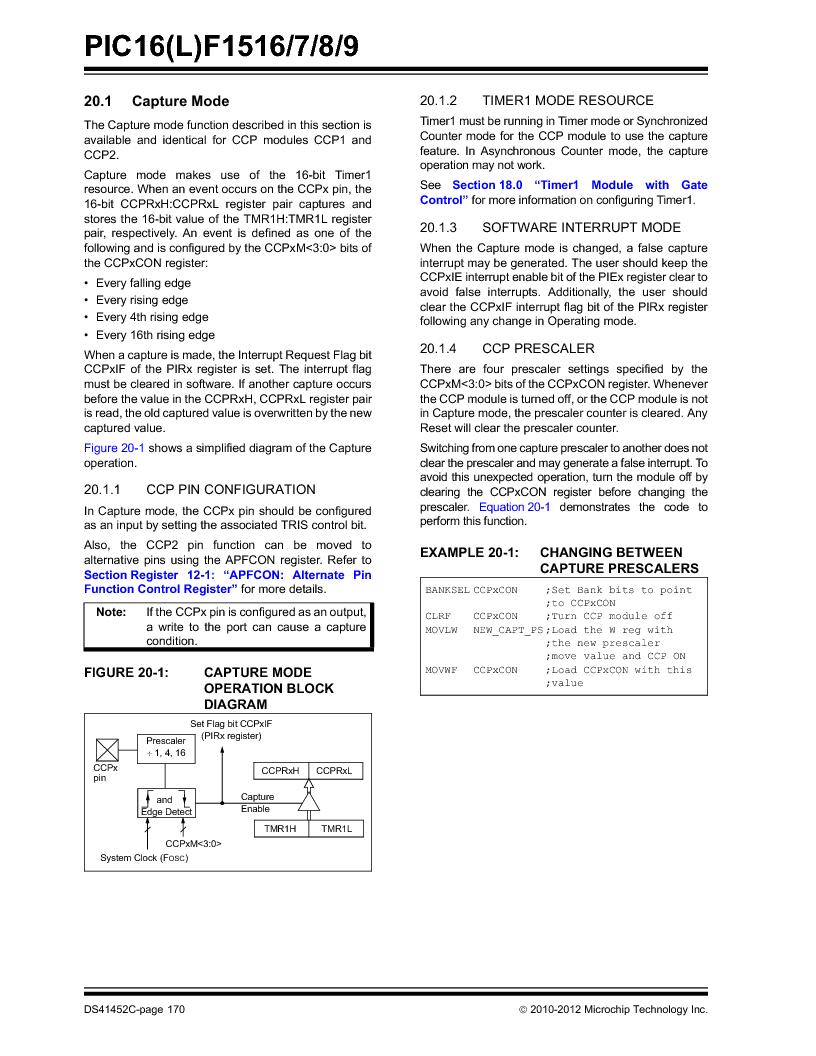 PIC16F1516-E/MV ,Microchip Technology厂商,MCU 14KB FLASH 512B RAM 28-UQFN, PIC16F1516-E/MV datasheet预览  第170页