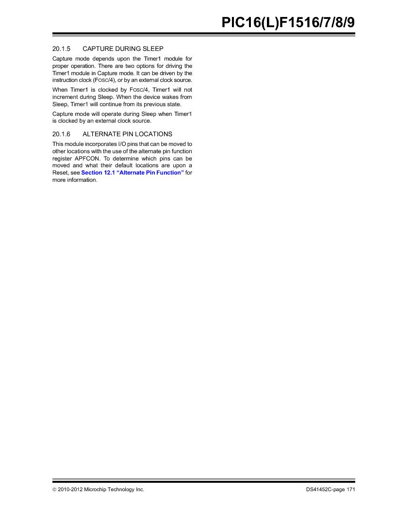 PIC16F1516-E/MV ,Microchip Technology厂商,MCU 14KB FLASH 512B RAM 28-UQFN, PIC16F1516-E/MV datasheet预览  第171页