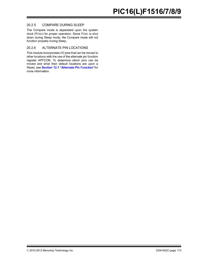 PIC16F1516-E/MV ,Microchip Technology厂商,MCU 14KB FLASH 512B RAM 28-UQFN, PIC16F1516-E/MV datasheet预览  第173页