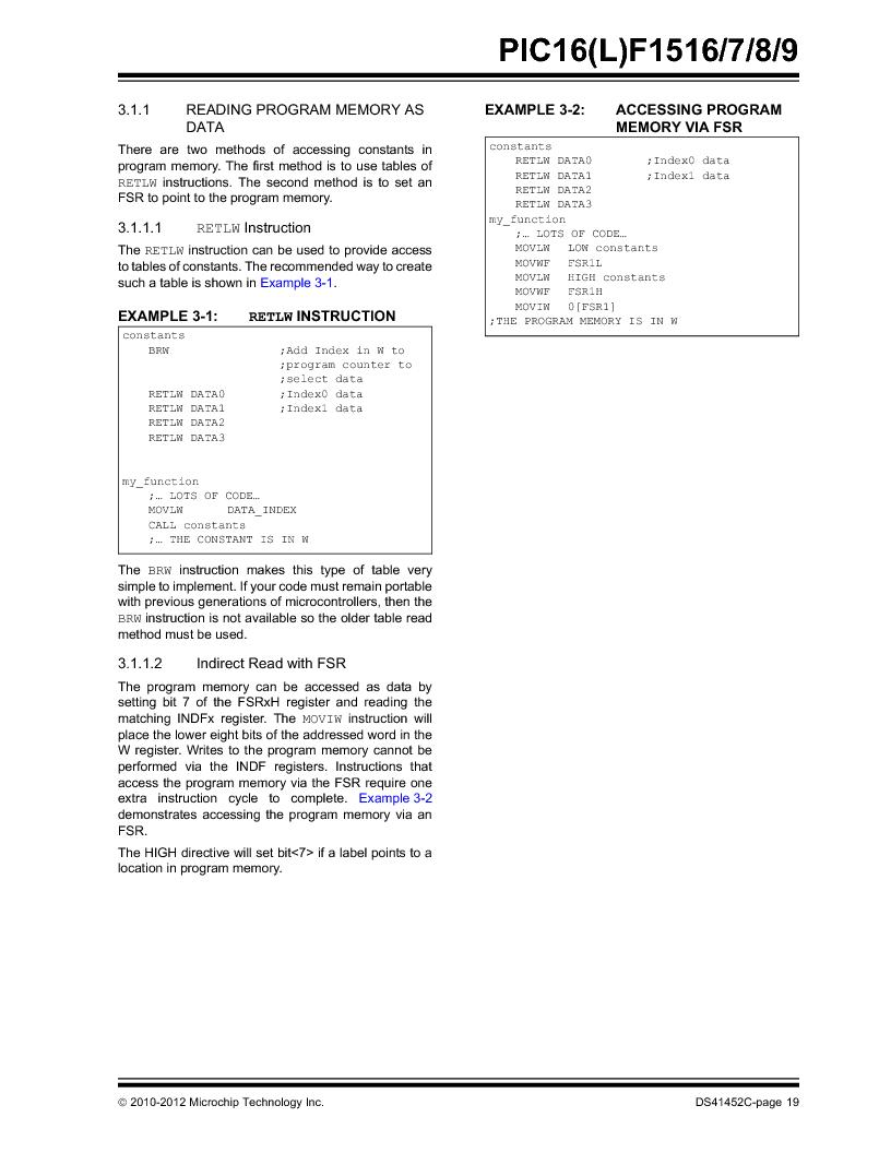 PIC16F1516-E/MV ,Microchip Technology厂商,MCU 14KB FLASH 512B RAM 28-UQFN, PIC16F1516-E/MV datasheet预览  第19页