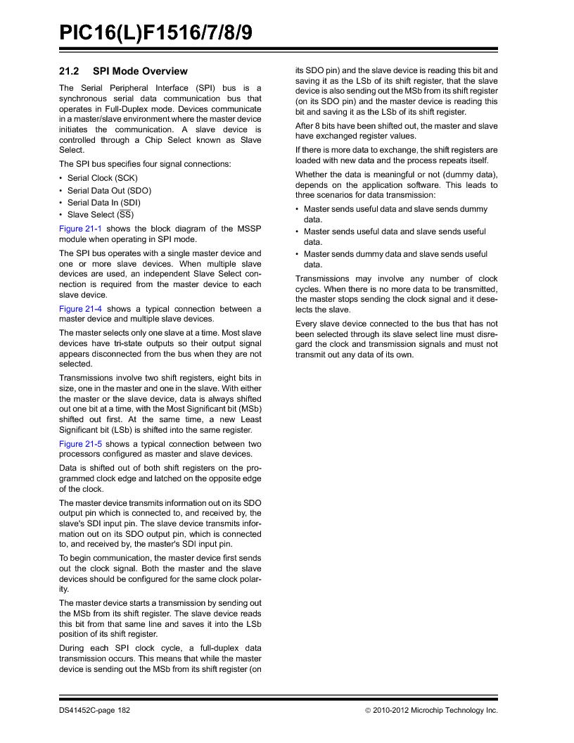 PIC16F1516-E/MV ,Microchip Technology厂商,MCU 14KB FLASH 512B RAM 28-UQFN, PIC16F1516-E/MV datasheet预览  第182页