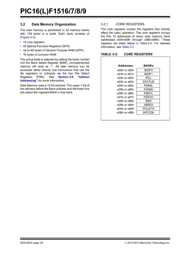PIC16F1516-E/MV ,Microchip Technology厂商,MCU 14KB FLASH 512B RAM 28-UQFN, PIC16F1516-E/MV datasheet预览  第20页