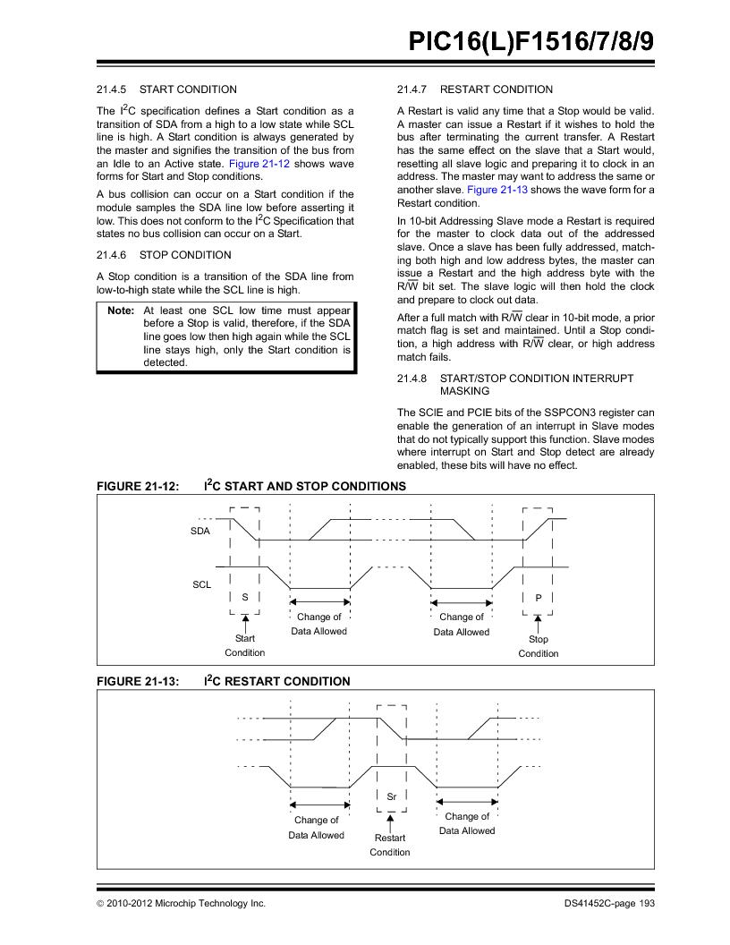 PIC16F1516-E/MV ,Microchip Technology厂商,MCU 14KB FLASH 512B RAM 28-UQFN, PIC16F1516-E/MV datasheet预览  第193页