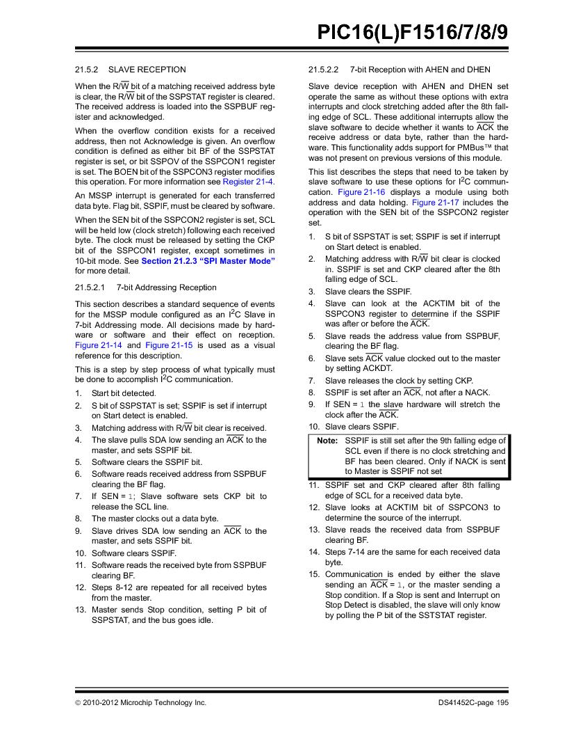 PIC16F1516-E/MV ,Microchip Technology厂商,MCU 14KB FLASH 512B RAM 28-UQFN, PIC16F1516-E/MV datasheet预览  第195页
