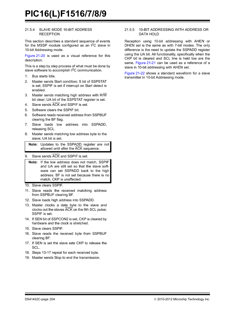 PIC16F1516-E/MV ,Microchip Technology厂商,MCU 14KB FLASH 512B RAM 28-UQFN, PIC16F1516-E/MV datasheet预览  第204页