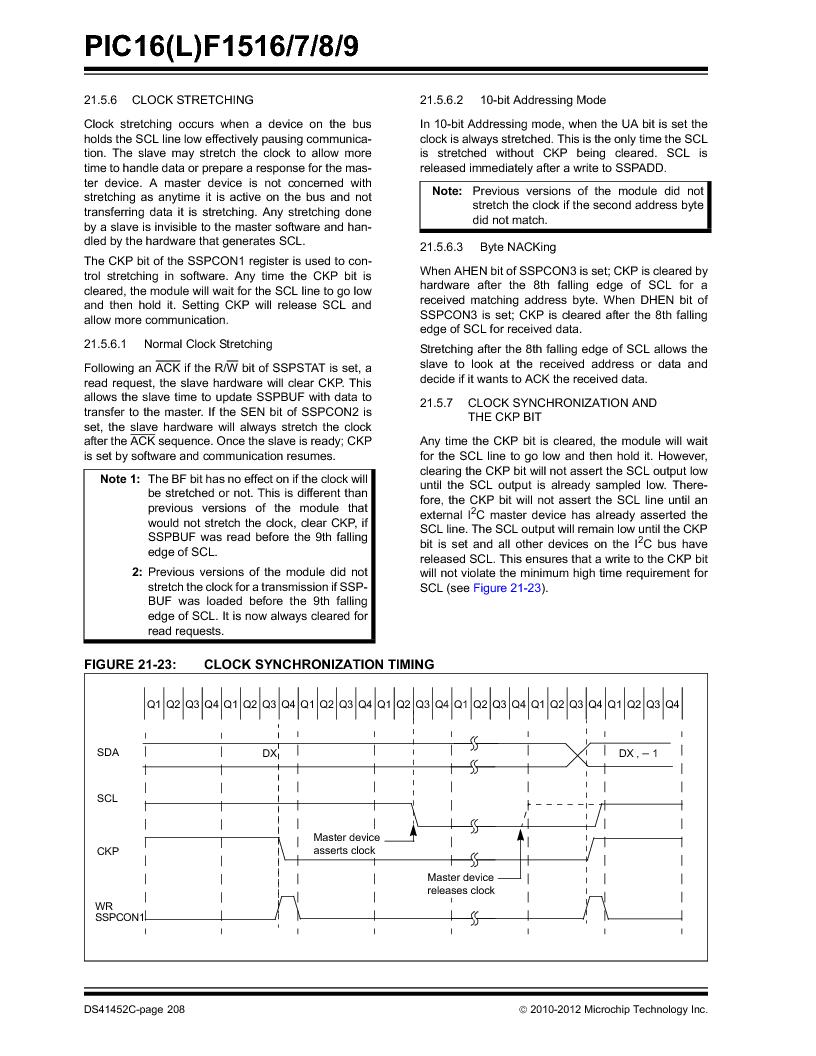 PIC16F1516-E/MV ,Microchip Technology厂商,MCU 14KB FLASH 512B RAM 28-UQFN, PIC16F1516-E/MV datasheet预览  第208页