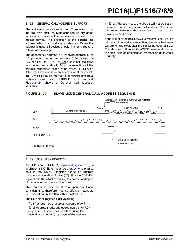 PIC16F1516-E/MV ,Microchip Technology厂商,MCU 14KB FLASH 512B RAM 28-UQFN, PIC16F1516-E/MV datasheet预览  第209页