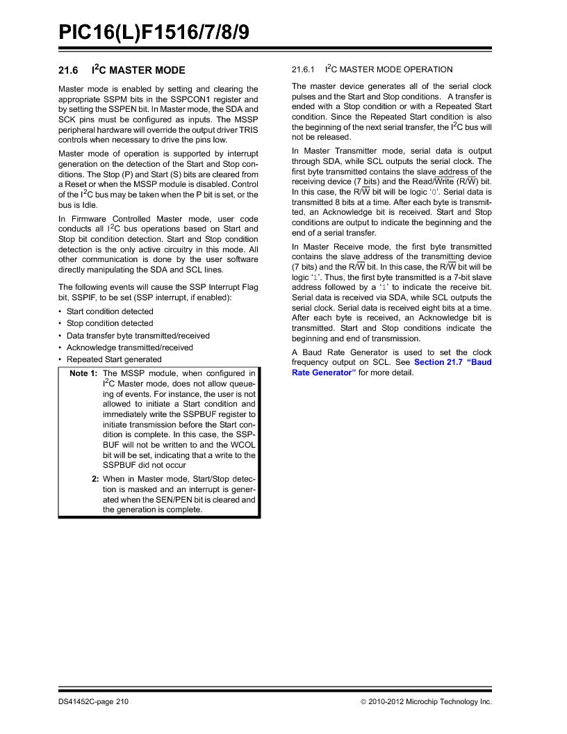 PIC16F1516-E/MV ,Microchip Technology厂商,MCU 14KB FLASH 512B RAM 28-UQFN, PIC16F1516-E/MV datasheet预览  第210页
