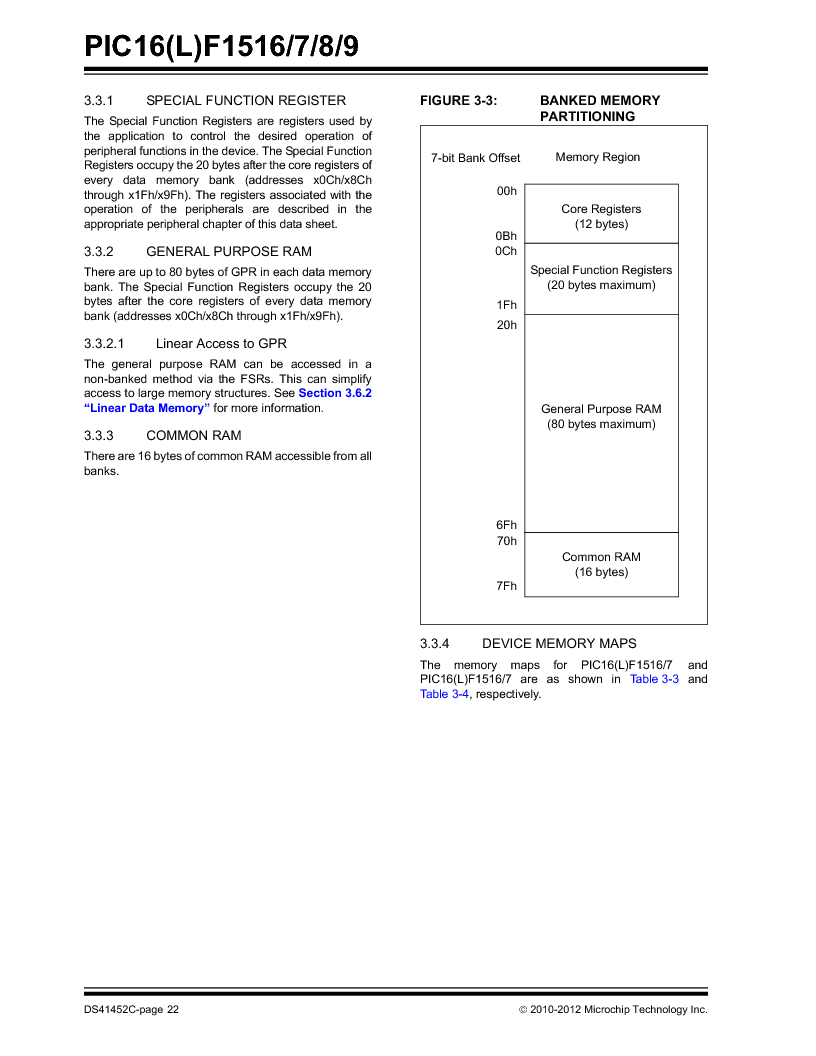 PIC16F1516-E/MV ,Microchip Technology厂商,MCU 14KB FLASH 512B RAM 28-UQFN, PIC16F1516-E/MV datasheet预览  第22页
