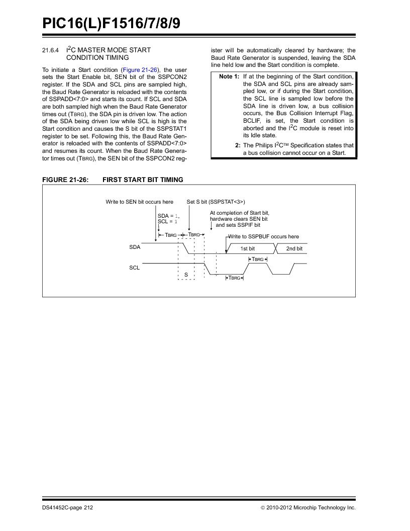 PIC16F1516-E/MV ,Microchip Technology厂商,MCU 14KB FLASH 512B RAM 28-UQFN, PIC16F1516-E/MV datasheet预览  第212页