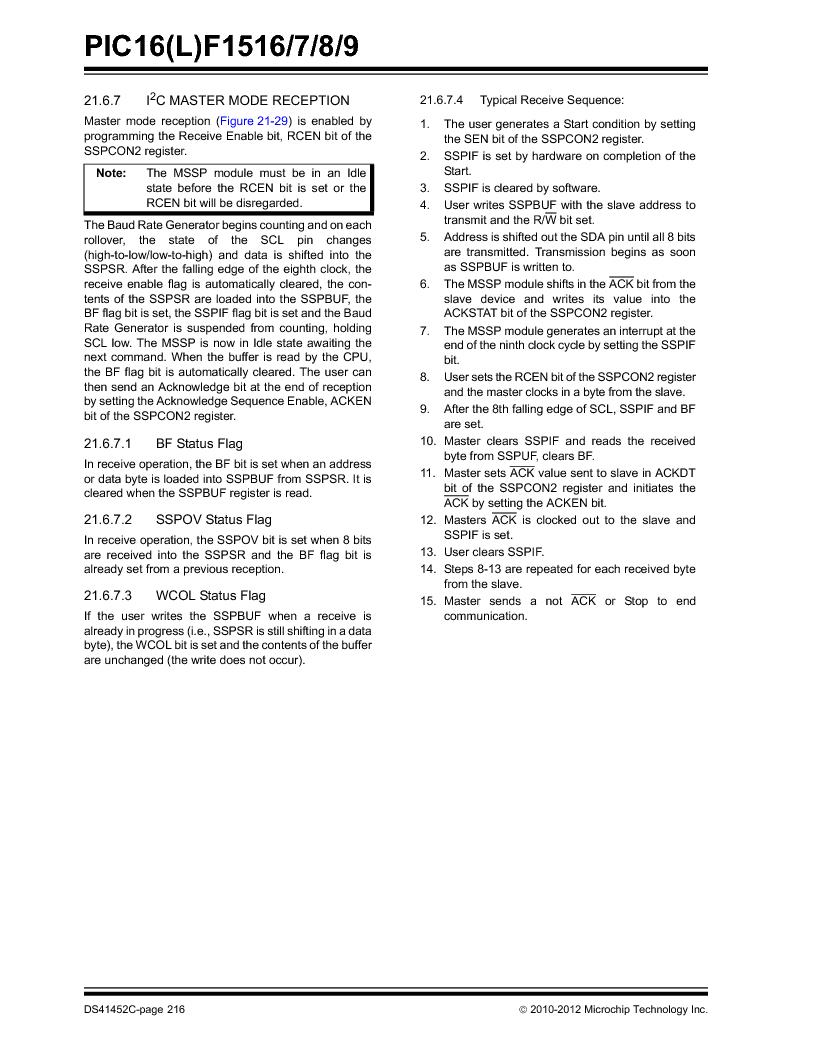 PIC16F1516-E/MV ,Microchip Technology厂商,MCU 14KB FLASH 512B RAM 28-UQFN, PIC16F1516-E/MV datasheet预览  第216页
