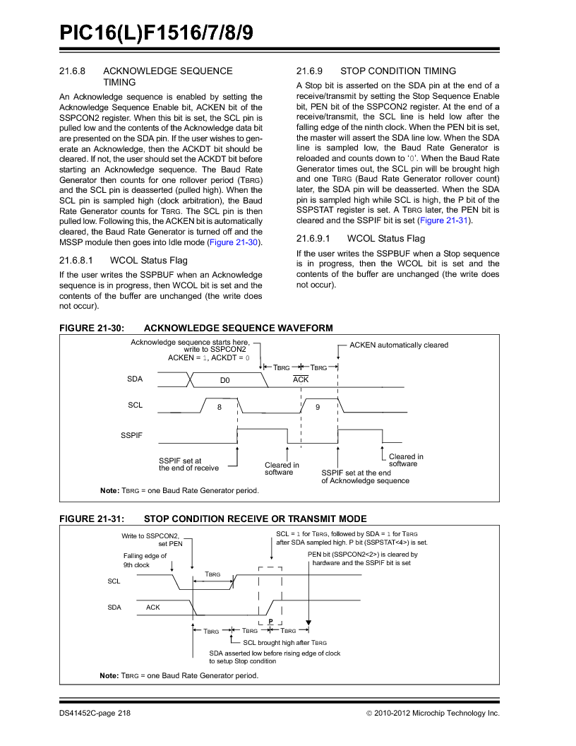 PIC16F1516-E/MV ,Microchip Technology厂商,MCU 14KB FLASH 512B RAM 28-UQFN, PIC16F1516-E/MV datasheet预览  第218页