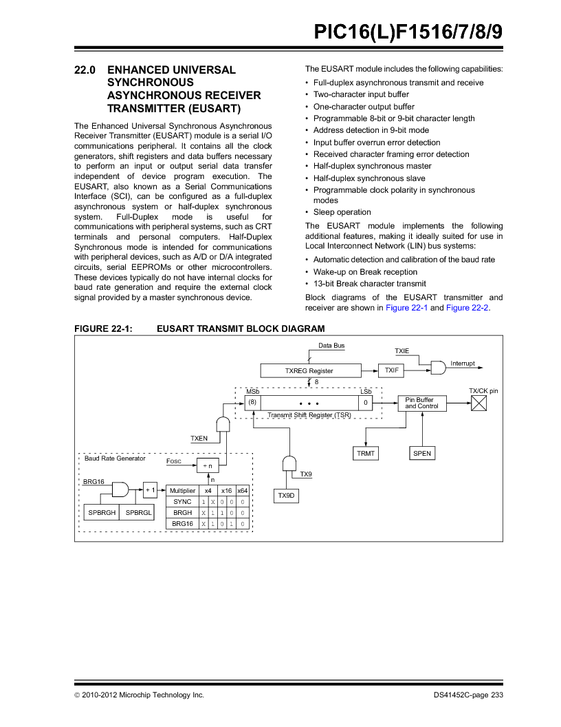 PIC16F1516-E/MV ,Microchip Technology厂商,MCU 14KB FLASH 512B RAM 28-UQFN, PIC16F1516-E/MV datasheet预览  第233页