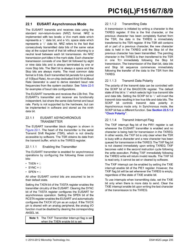 PIC16F1516-E/MV ,Microchip Technology厂商,MCU 14KB FLASH 512B RAM 28-UQFN, PIC16F1516-E/MV datasheet预览  第235页