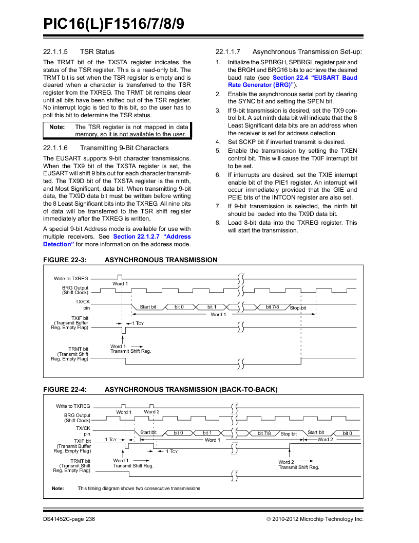 PIC16F1516-E/MV ,Microchip Technology厂商,MCU 14KB FLASH 512B RAM 28-UQFN, PIC16F1516-E/MV datasheet预览  第236页