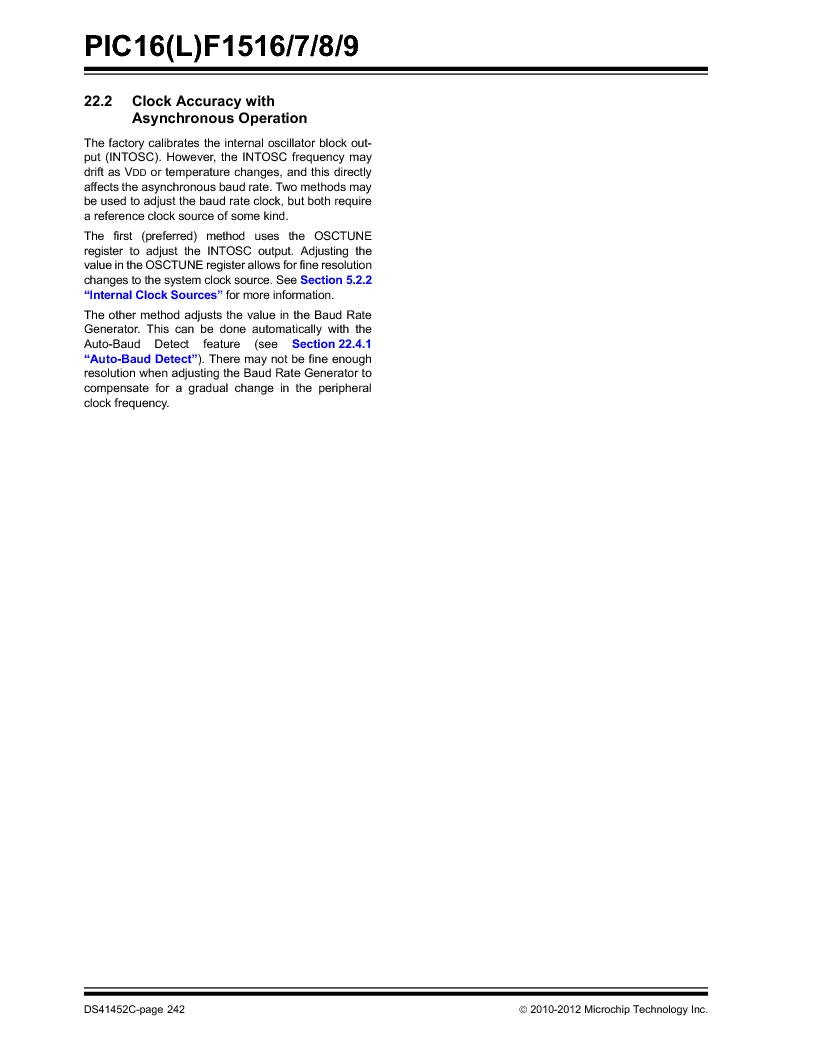 PIC16F1516-E/MV ,Microchip Technology厂商,MCU 14KB FLASH 512B RAM 28-UQFN, PIC16F1516-E/MV datasheet预览  第242页