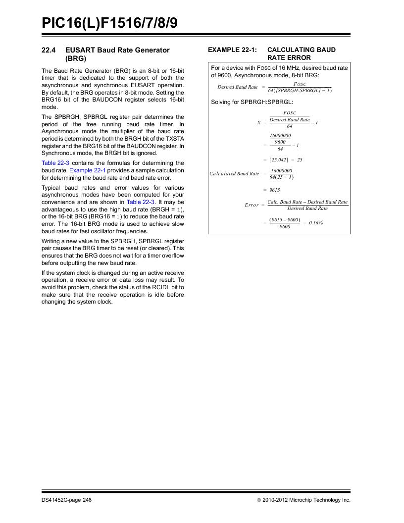 PIC16F1516-E/MV ,Microchip Technology厂商,MCU 14KB FLASH 512B RAM 28-UQFN, PIC16F1516-E/MV datasheet预览  第246页