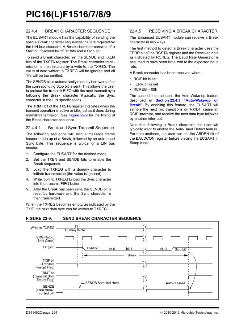 PIC16F1516-E/MV ,Microchip Technology厂商,MCU 14KB FLASH 512B RAM 28-UQFN, PIC16F1516-E/MV datasheet预览  第254页