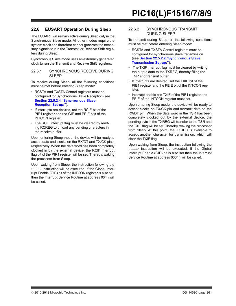 PIC16F1516-E/MV ,Microchip Technology厂商,MCU 14KB FLASH 512B RAM 28-UQFN, PIC16F1516-E/MV datasheet预览  第261页