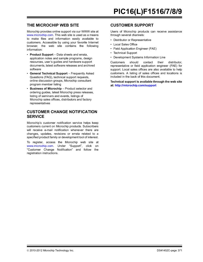 PIC16F1516-E/MV ,Microchip Technology厂商,MCU 14KB FLASH 512B RAM 28-UQFN, PIC16F1516-E/MV datasheet预览  第371页