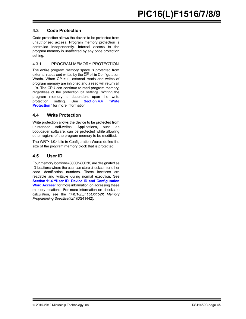 PIC16F1516-E/MV ,Microchip Technology厂商,MCU 14KB FLASH 512B RAM 28-UQFN, PIC16F1516-E/MV datasheet预览  第45页