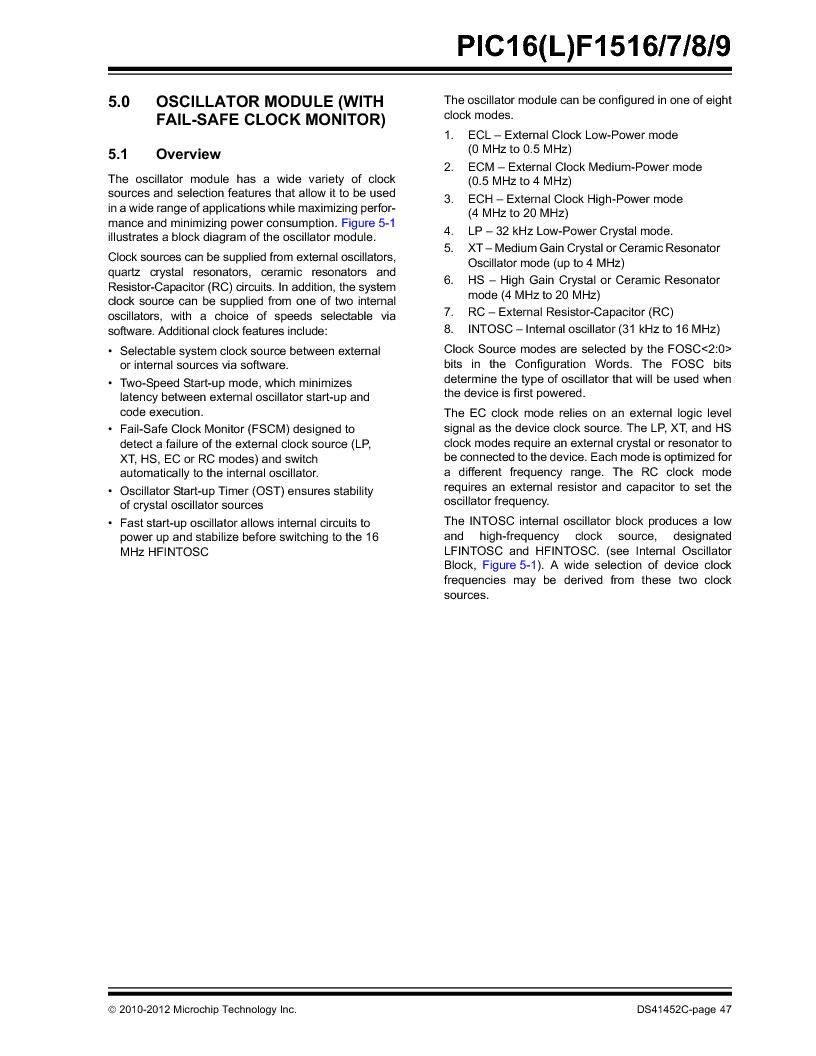 PIC16F1516-E/MV ,Microchip Technology厂商,MCU 14KB FLASH 512B RAM 28-UQFN, PIC16F1516-E/MV datasheet预览  第47页