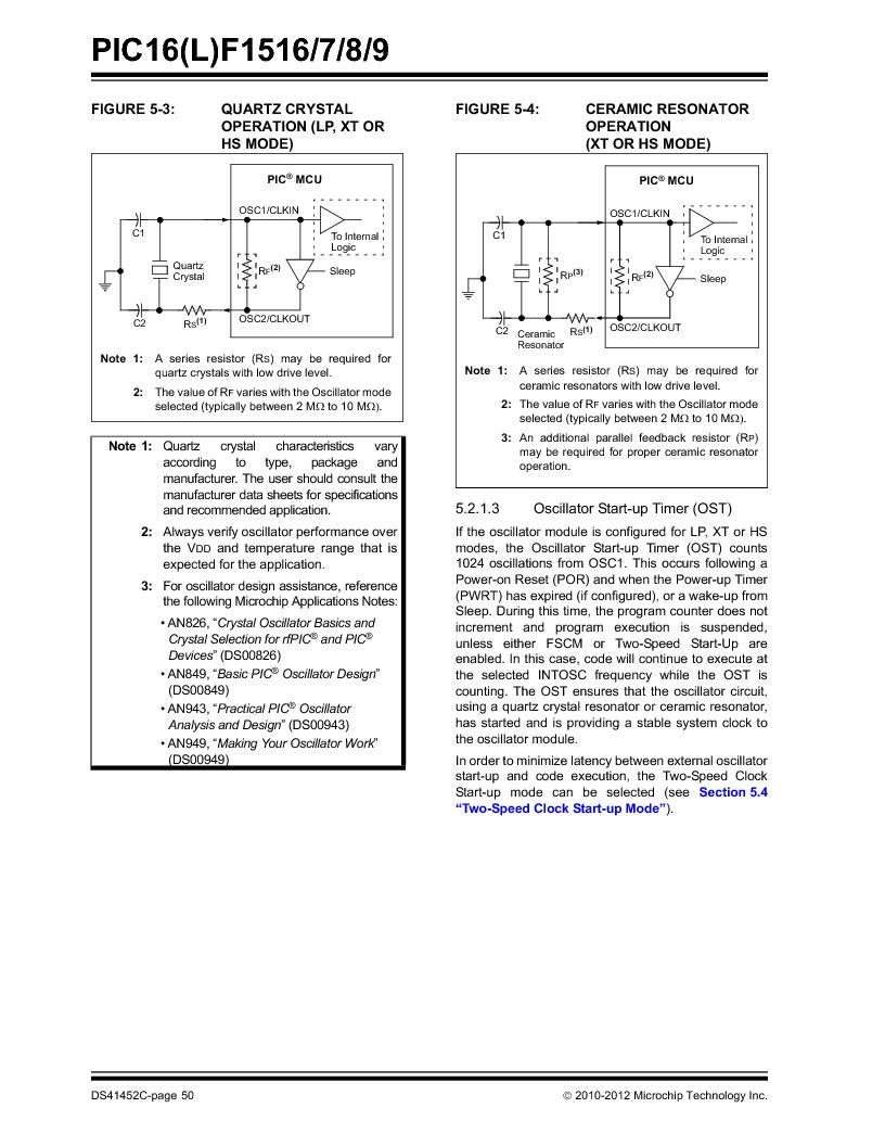 PIC16F1516-E/MV ,Microchip Technology厂商,MCU 14KB FLASH 512B RAM 28-UQFN, PIC16F1516-E/MV datasheet预览  第50页