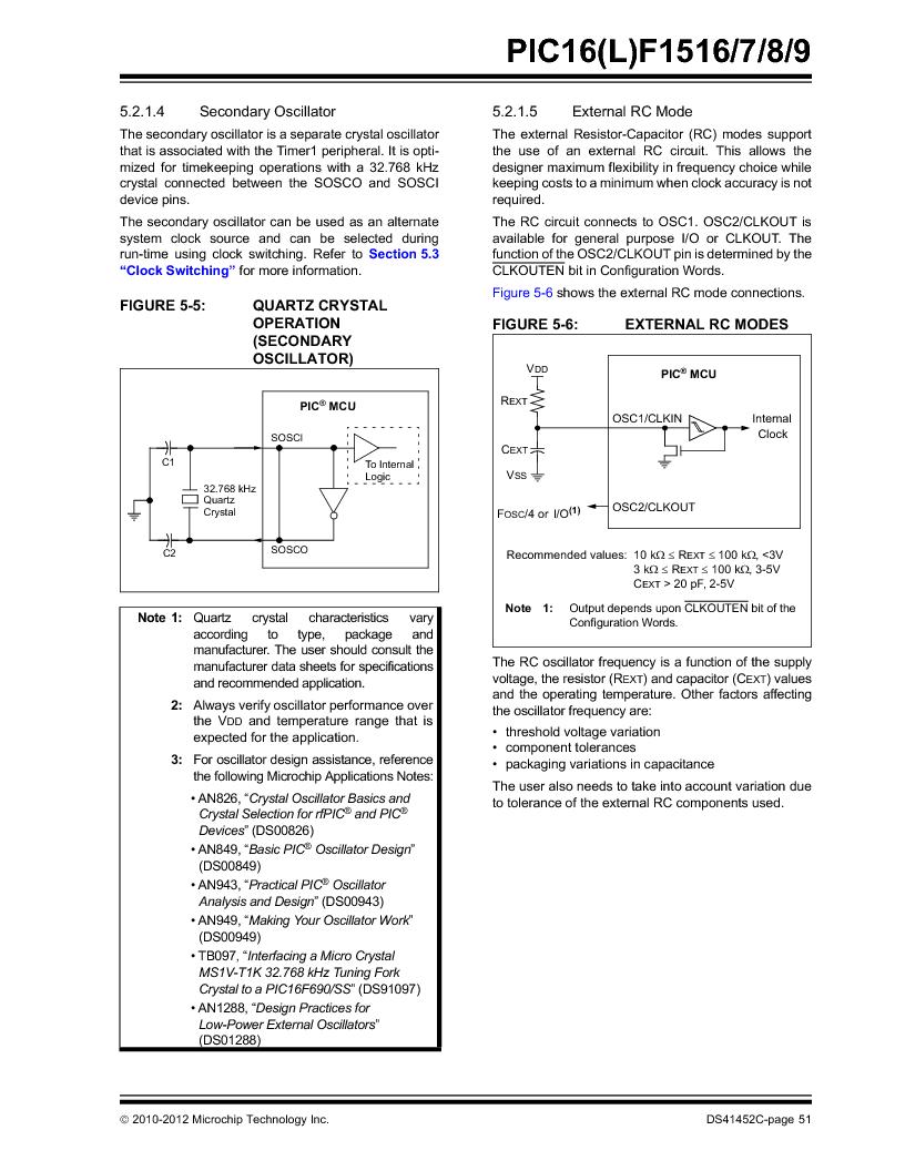 PIC16F1516-E/MV ,Microchip Technology厂商,MCU 14KB FLASH 512B RAM 28-UQFN, PIC16F1516-E/MV datasheet预览  第51页