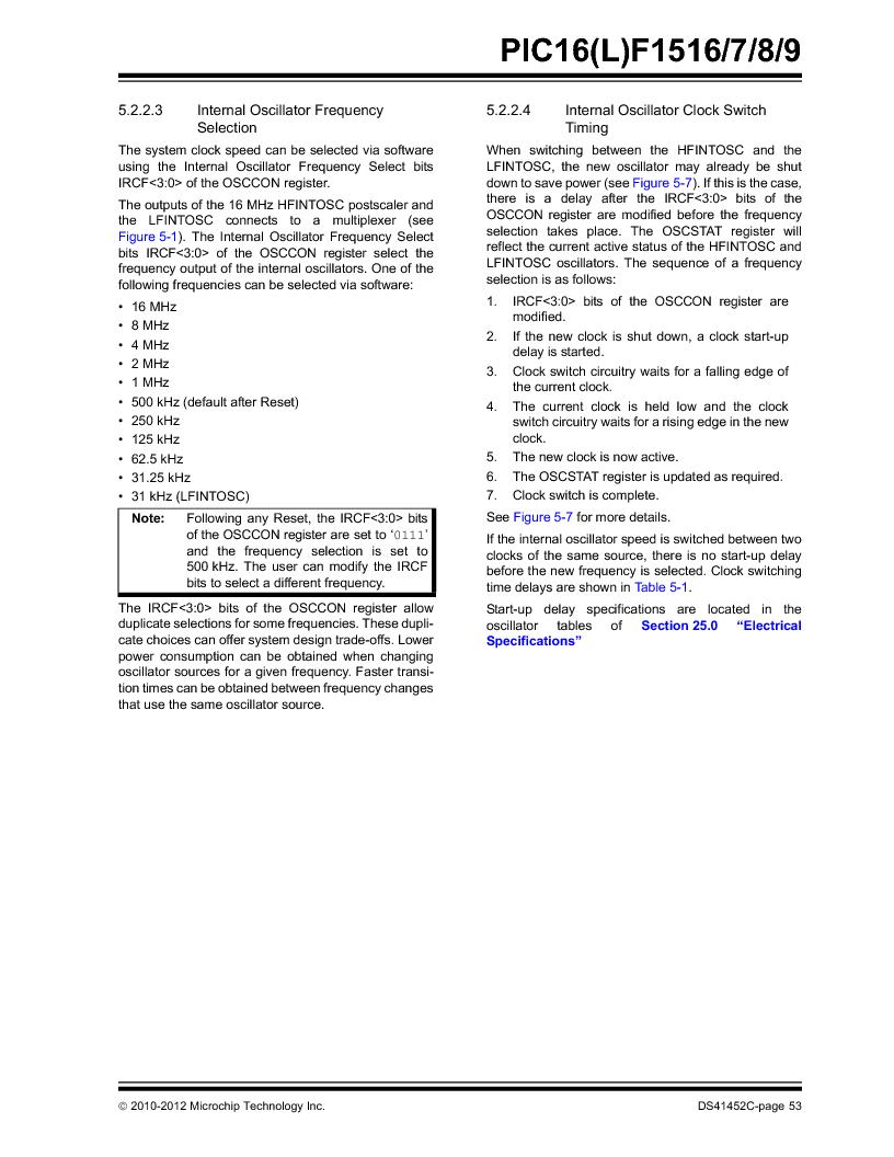 PIC16F1516-E/MV ,Microchip Technology厂商,MCU 14KB FLASH 512B RAM 28-UQFN, PIC16F1516-E/MV datasheet预览  第53页