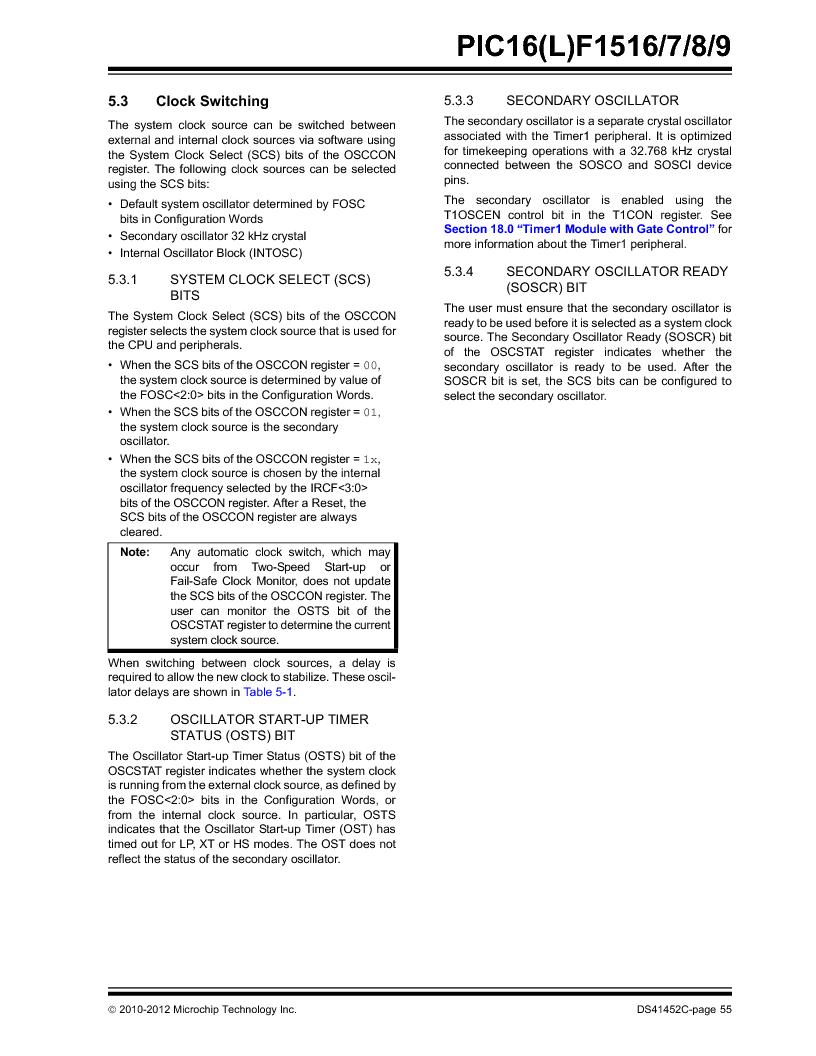PIC16F1516-E/MV ,Microchip Technology厂商,MCU 14KB FLASH 512B RAM 28-UQFN, PIC16F1516-E/MV datasheet预览  第55页